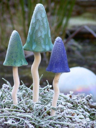 Klingende Pilze (Grün) Gartendeko Gartenfigur