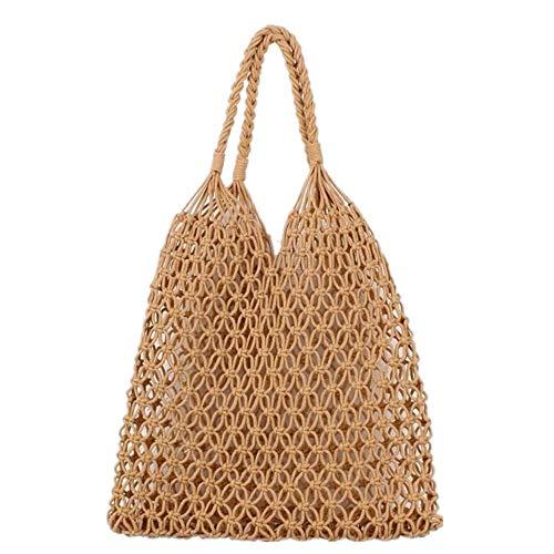 Hixixi Cotton Rope Totes Travel Beach Fishing Net Handbag Shopping Woven Shoulder Bag for Women Girls (Khaki)