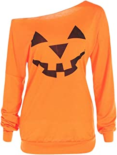 2019 Limsea Women Plus Size Halloween Angry Pumpkin Skew Neck Long Sleeve Blouse Tops