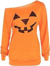 2019 Limsea Women Plus Size Halloween Angry Pumpkin Skew Neck Long Sleeve Blouse Tops