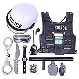 Foxom Juguetes Policiales, 11Pcs Viste a La Policía Juego de rol Set Juguetes, Incluyendo: Disfraz de Policía, Casco, Insignia, Esposas, Walkie Talkie y Bastón, Etc