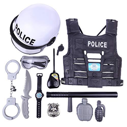 WEEGO Polizei Rollenspiel Spielzeug, 11Pcs Polizei Kostüm Zubehör Set, Polizei Kostüm Kinder, Rollenspiel Polizei Zubehör für Kinder