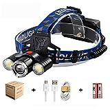Linterna Frontal LED,3000 Lúmenes USB Recargable Linternas Frontales,4 Modos...