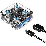 ORICO USB3.0 ハブ 4ポート 透明なボディー USB3.0の転送速度 5Gbpsまで 軽量 電源ポート付き、追加電源可能 MH4U