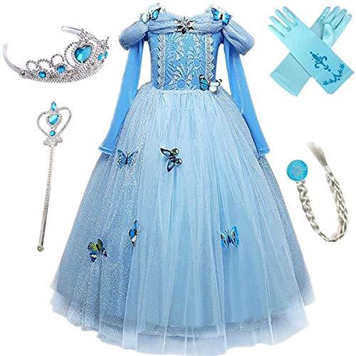 Emin Disfraz Princesa Cenicienta Vestido Niña Azul Encaje Manga Larga Tul Brillante Mariposa Cumpleaños Navidad Halloween Carnaval Cosplay Fiesta Disfraces Niños 3-10 Años
