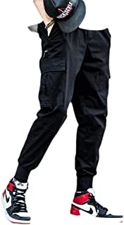 Men Elastic WaistAthletics Pocket Chino Cargo Pant Trousers Jogger Pants