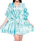 LA LEELA Mujer Kaftan Rayón Túnico Tie Dye Kimono Estilo Más tamaño Vestido para Loungewear Vacaciones Ropa de Dormir & Cada día Cubrir para Arriba Tops Camisolas Playa Azul_B832