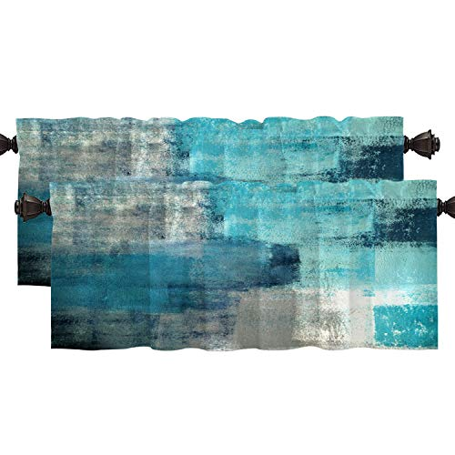 Shrahala Turquoise Grey Abstract Kitchen Valances Half Window Curtain, Modern Abstract Art for Home Decor Kitchen Valance for Window Ink Printing Kitchen Valances for Kitchen Decor 52x18 inch