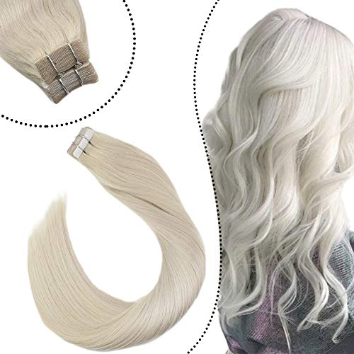 Ugeat Hair Remy 100% Echthaar Tape Tressen 60cm #60A Weiße Blondine Haarverlangerung Echte Haare Extensions Brasilianisches Haar Naturlich Glatt 50G 20Stucke/Paket
