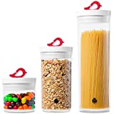 LISA ENJOYMENT Airtight Cereal Containers Storage Set 3 Pieces Airtight Pop Container Set Easy Lock Pantry Containers Organization Ideal for Spaghetti & Snack