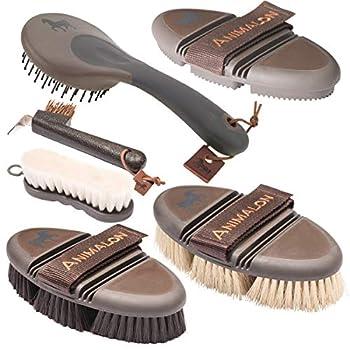 Animalon Kit de base | Brosse à cardan, étrille, brosse à racine, brosse à queue et crinière & brosse à sabot | Équipement de base pour le soin quotidien des chevaux (marron)