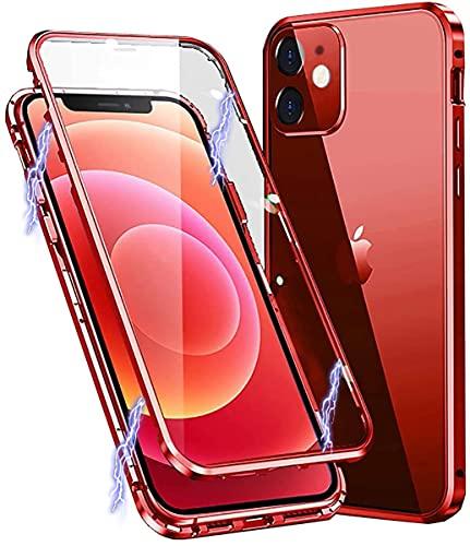 MIMGOAL Funda para iPhone 12 Magnética Teléfono Móvil 360 Grados Case [con Protector de Pantalla de Cristal Integrado] Marco de Metal Transparente Carcasa Rojo