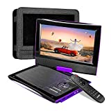 SUNPIN 2020 New PD969 11' Portable DVD Player for Car with Headrest Mount, Upgraded Remote Control, 9.5 inch Brightness Enhanced Screen DVD Play, 5 Hours Battery, Dual Earphone Jack(Purple)