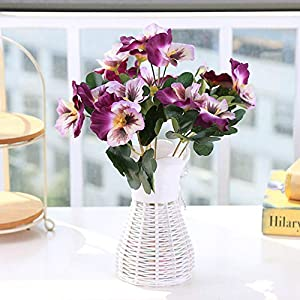 Artificial and Dried Flower Artificial Flowers Wedding Ornament Fake Pansy Bouquet Home Office Party Simulation Plant Table Desk Decor Hotel Plant #2