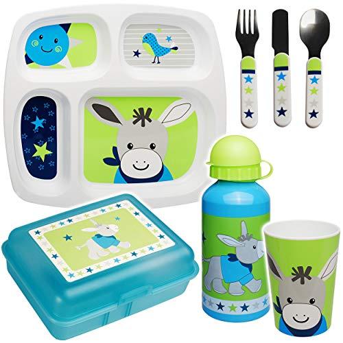 alles-meine.de GmbH 7 TLG. Set - Geschirrset - Esel - Pferd & Sterne - BPA frei - rutschfest - Babyteller - Trinktasse + Teller + Kinderbesteck + Brotdose + Trinkflasche - Kinder..