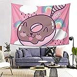 Tapiz para colgar en la pared con estampado 3D, diseño de gato lindo en forma de donut de chocolate, decoración de pared para el hogar, decoración del dormitorio, sala de estar, 200 x 152 cm