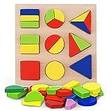 Juguete Educativo de Madera Juego Bloques de Forma geométrica Niños Preescolar...