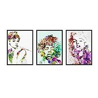 オードリー・ヘップバーンマリリン・モンロージミ・ヘンドリックスキャンバスプリントポップアート絵画ウォールアートリビングルームオフィスデコレーション3個/セット(フレームなし),24''x32''x3pcs