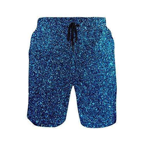 CODOYO Bañador para Hombre Pantalones Cortos con Estampado de Purpurina Dorada Azul Pantalones Cortos Ropa de Playa de Secado rápido para Vacaciones de competición