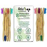 Brosse à dents en bambou pour adultes et adolescents | Paquet de 8 brosses à dents biodégradables | En bambou Moso écologique avec poignées ergonomiques et poils souples en nylon