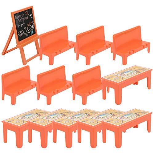 Toddmomy 13Pcs Niños Juegan Accesorios de Aula Mini Silla de Escritorio de Plástico Pizarra Juego de Modelos de Escena de Aula Cocina Juego de Simulación Juguetes Juego de Roles Kit de