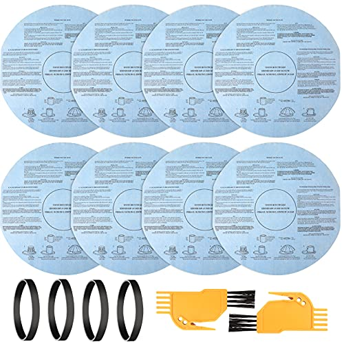 14 Pieces VF2002 Dry Vac Filters Set Including 8 Pieces of VF2002 Reusable Wet Dry Vac Filters 4 Pieces Bands 2 Pieces Cleaning Tool Brushes for Most 5 Gallon and Larger Wet Dry Vacuum Cleaners
