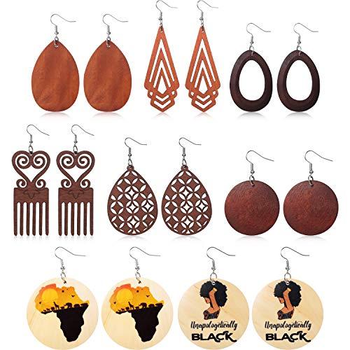 8 Pairs Ethnic Wood Dangle Earrings African Wooden Dangle Round Teardrop Earrings for Women