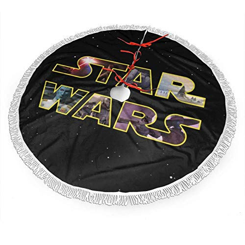 Meili Darth-Va-Der,Star,Wars Christmas Tree Skirt with Fringe Mat Xmastree Skirt for Party Holiday Decorations