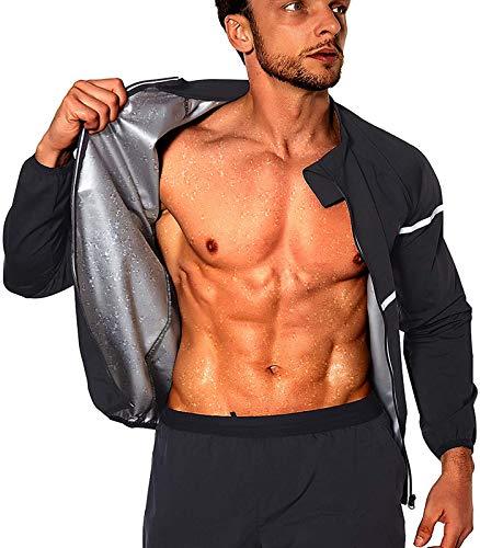 NINGMI Sauna Suit for Men Zipper Gym Sauna Sweat Suits Men Slimming Fitness Long Sleeve Workout Sauna Shirt
