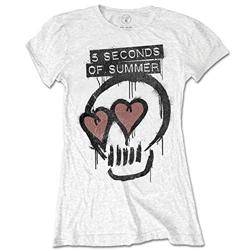 5 Seconds Of Summer 5 Seconds of Summe Heart Skull Camiseta, Blanco, M para Mujer