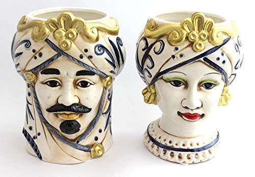 ILAB Coppia Teste di Moro Regina e re in Ceramica siciliana Harmony Decorata a Mano Blu e Oro,Altezza 23cm,soprammobili in Ceramica,Ceramica siciliana