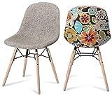 Furnhouse Furniture Sillas de Comedor, poliéster, Gris, Rojo/mordaza Natural, 47x57x84