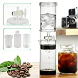 CNCEST 400ml/0.1Gal Iced Coffee Maker Cold Brew Water Ice Drip Dutch Coffee Maker with V-shaped Glass Material Filter Portable in Home Office Kitchen