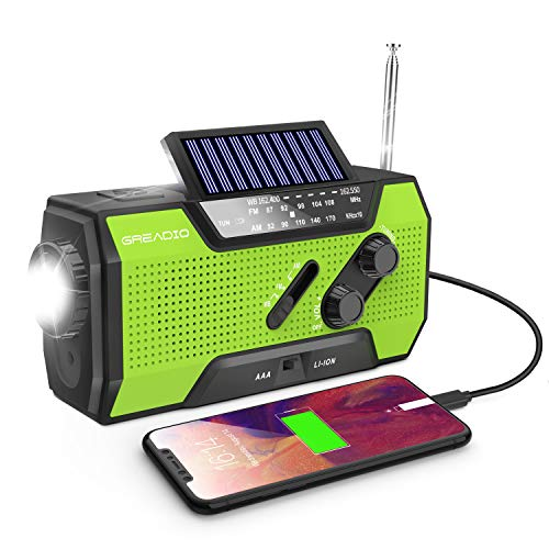 Emergency Weather Solar Crank AM/FM NOAA Radio with Portable 2000mAh Power Bank, Bright Flashlight and Reading Lamp for Household Emergency and Outdoor Survival (Green)