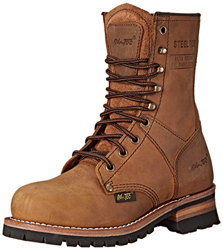 AdTec womens Women's 9' Steel Toe Brown-w Logger Boot,...