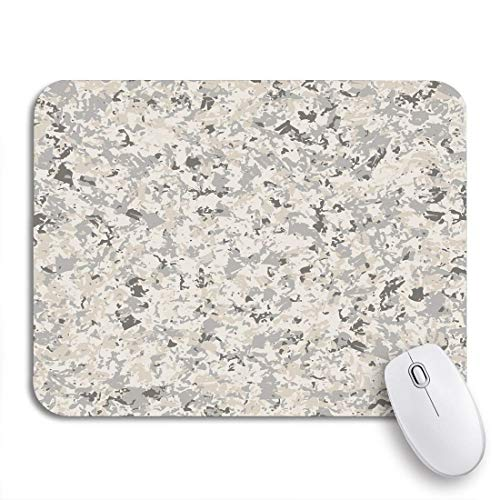 Alfombrilla de ratón para Juegos Patrón Beige Gris mármol Blanco Piedra de imitación Granito Marrón Antideslizante Respaldo de Goma Alfombrilla para portátiles Computadoras Alfombrillas de ratón