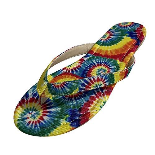 YANFANG Moda Mujer Verano Zapatillas De Playa Sin Cordones Punta Abierta Zapatos Transpirables con Chanclas,Sandalias Sandalias Planas Bohemias CóModo Casual Vacaciones Zapato,Multicolor,42