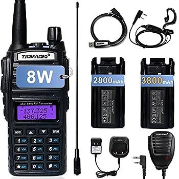 TIDRADIO UV-82 Ham Radio Handheld High Power Dual Band Radio Portable Two Way Radio with Extra 3800mAh Battery Full Kits 1Pack-Black