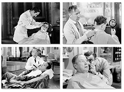PICSonPAPER Poster 4er-Set Vintage Barbershop, ungerahmt DIN A4, Dekoration für Ihren Barber-Shop, Friseur, Rasur, Kunstdruck, Wandbild (DIN A4 ohne Rahmen)