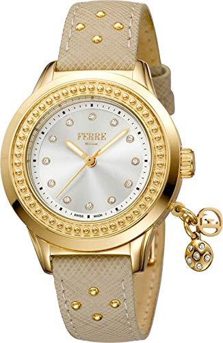 Ferre Milano Damen Datum klassisch Quarz Uhr mit Leder Armband FM1L045L0011