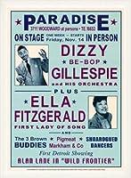 ポスター デニース ローレン Dizzy Gillespie and Ella Fitzgerald at Paradise 1947 額装品 ウッドベーシックフレーム(ホワイト)