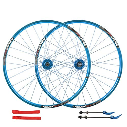 CHICTI 26 Inch Bike Wheelset Cycling Wheels Mountain Bike Disc Brake Wheel Set Quick Release Palin Bearing 7/8/9/10 Speed Outdoor (Color : Blue)