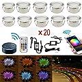 SUBOSI Bodeneinbauleuchten Arbeitet mit Alexa,RGB Led Einbaustrahler DC12V Ø45mm IP67 Wasserdicht LED Boden WiFi Wireless Smart Phone 20er Full Kit