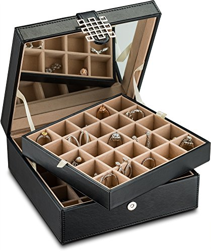 Glenor Co Classic 50 Slot Jewelry Box Earring Organizer with Large Mirror, Black