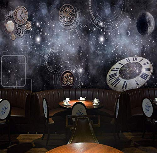 Papel Pintado Mural Imagen Reloj Mecánico Galaxia Planeta 3D No-Trenzado Salón Dormitorio Despacho Pasillo Decoración Murales Decoración De Paredes Moderna 150X100Cm
