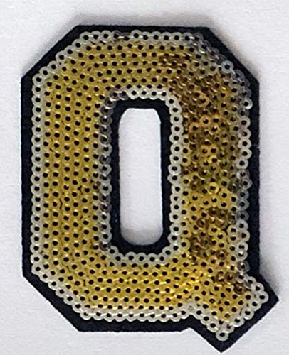 """Gold and Silver Sequin Letter 3"""" inch Iron-on Patch Appliqué Sewing Alphabet Letter (A-Z) (Q)"""