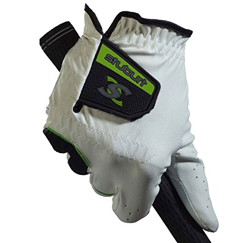 Stuburt Herren STGLV08 Mens Urban All Weather Golf Glove with Cabretta & Synthetic Leather Golfhandschuh, weiß/schwarz, m