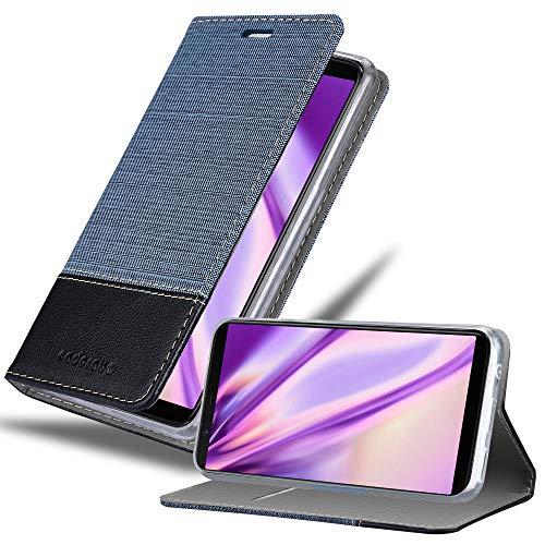 Cadorabo Hülle für OnePlus 5T - Hülle in DUNKEL BLAU SCHWARZ – Handyhülle mit Standfunktion & Kartenfach im Stoff Design - Hülle Cover Schutzhülle Etui Tasche Book