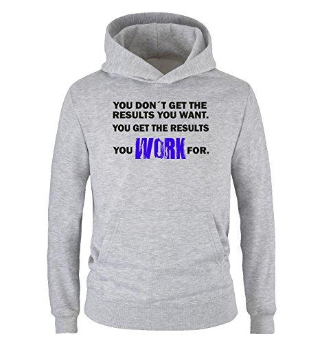 Comedy Shirts Sweat à capuche pour enfant, avec inscription en anglais « You Work for Results », tailles 104-152, différentes couleurs - Gris - 152