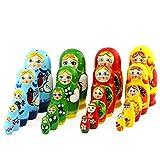 Azhna Lot de 4 ensembles de 5 poupées russes de 10,5 cm - Collection de souvenirs - Matryoshka - Décoration d'intérieur - Poupée russe - Matriochka - En bois - Empilable